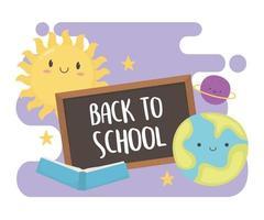 Zurück zur Schule, Tafelbuch und Sonnenplaneten-Bildungskarikatur des Sonnensystems vektor