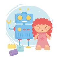Kinderspielzeug Objekt amüsante Cartoon niedlichen Puppenroboter und Blöcke vektor