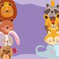 söta tecknade djur bedårande liten lejonbjörn kanin apa tiger tvättbjörn räv och elefant vektor