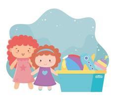 Kinderspielzeug Puppenkübel mit Ball Flugzeug Objekt amüsanten Cartoon vektor