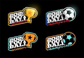 2020 fotboll vektor logotyp set
