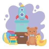 barn leksaker objekt underhållande tecknad nallebjörn anka raket böcker och boll