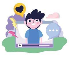 ung man video mobil kärleksmeddelande sociala medier vektor