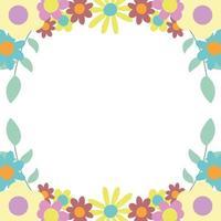 blommor lämnar natur dekoration gränsen vit bakgrund vektor