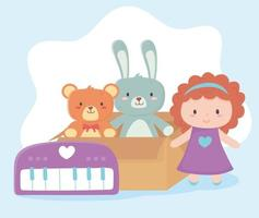 Kinderspielzeug Pappkarton mit Bärenkaninchenpuppe und Klavierobjekt amüsanter Cartoon vektor