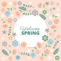 Flache Design-Vektor-Frühlings-Gruß-Karte