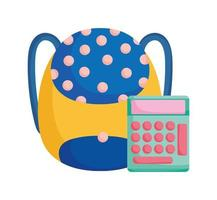Zurück zur Schule Ausbildung gepunkteter Rucksack und Taschenrechner