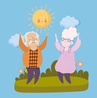 glücklicher Großelterntag, Opa und Oma stehen zusammen Landschaft feiern Karikatur vektor