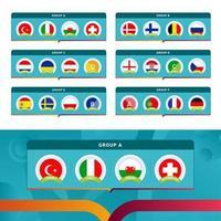 fotboll 2020-turneringens sista etappgrupper vektor
