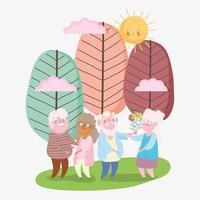 Glücklicher Großelterntag, zwei Paare alter Opa und Oma mit Blumen im Parkkarikatur vektor