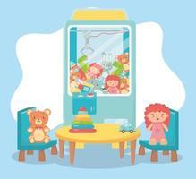 Kinderspielzeug Objekt amüsant Cartoon Teddy Picker Maschine Tisch Stühle mit Puppe Bär Auto vektor