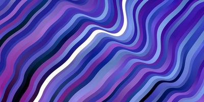 dunkelrosa, blauer Vektorhintergrund mit gebogenen Linien.