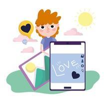 Junge Smartphone Bild Liebe Social Media vektor