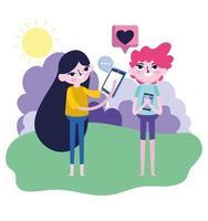 flicka och pojke smartphone idé prata kärleksmeddelande sociala medier vektor