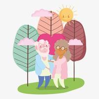 Glücklicher Großelterntag, Opa und Oma zusammen lieben Herzlandschaftskarikatur vektor