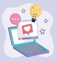 sociala medier bärbar dator video pratbubbla kreativitet vektor