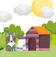söt hund med husmat och flaskor utomhus husdjur vektor