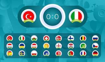 Fußball 2020 Sport Anzeigetafeln Vorlagen gesetzt vektor