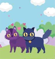 söta katter i gräset älskar hjärtan husdjur vektor