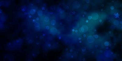 dunkelblaues Vektorlayout mit Kreisen, Sternen. vektor