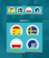 fotboll 2020 turnering sista etappen grupp e badge set vektor