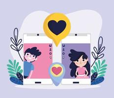söt tjej och pojke smartphone skärm chatt romantisk kärlek sociala medier vektor