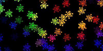 mörk flerfärgad vektorbakgrund med covid-19 symboler
