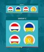 Fußball 2020 Turnier Endphase Gruppe ein Abzeichen gesetzt