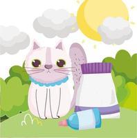 traurige Katze, die mit Nahrungshaustieren sitzt