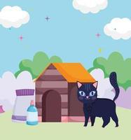 katt promenader hus med mat utomhus husdjur