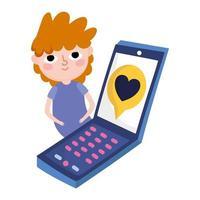junger Mann mit Smartphone-Nachricht lieben romantische soziale Medien