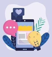 smartphone idé prata kärleksmeddelande sociala medier vektor