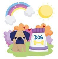 kleiner Hund Mops mit Futter Sonne Regenbogen Landschaft Haustiere vektor