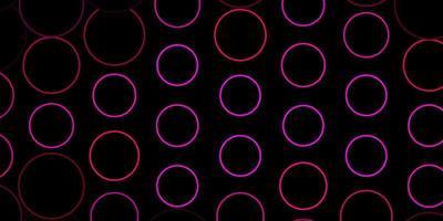 dunkelrosa Vektorhintergrund mit Kreisen.