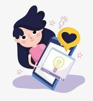 ung kvinna smartphone video kreativitet kärlek meddelande sociala medier vektor