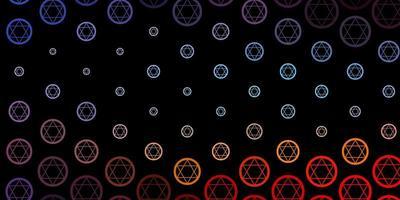 mörkblå, röd vektorbakgrund med mysteriesymboler.