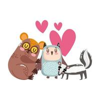 söta djur bedårande liten tarsius skunk och uggla hjärtan tecknad vektor