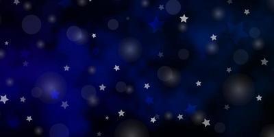 dunkelblaues Vektorlayout mit Kreisen, Sternen.