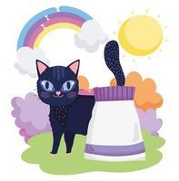 schwarze Katze mit Futterpaket Gras Sonne Haustiere