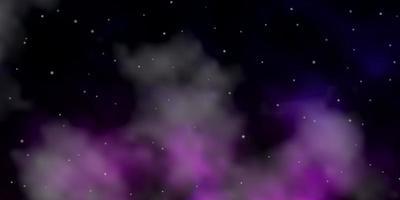 dunkelrosa, blaue Vektorschablone mit Neonsternen.