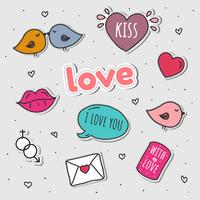 Kärlek Klistermärken Sätta Vektor