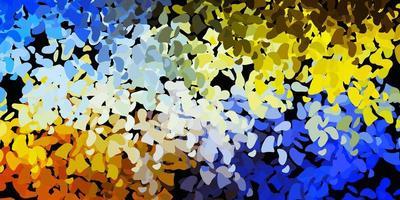 hellblaue, gelbe Vektorschablone mit abstrakten Formen.
