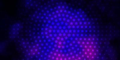 mörk lila, rosa vektor bakgrund med färgglada stjärnor.