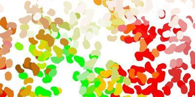hellgrüner, roter Vektorhintergrund mit zufälligen Formen.