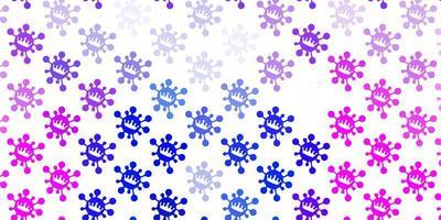 hellrosa, blauer Vektorhintergrund mit covid-19 Symbolen