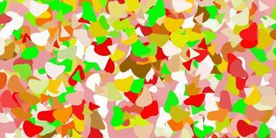 ljusgrönt, rött vektormönster med abstrakta former.
