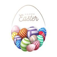 glückliche Osterkarte mit Eiern vektor