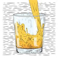 Vektor-Hand gezeichnetes Glas Saft
