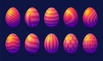 Satz von 10 regenbogenfarbenen Ostereiern mit Muster vektor