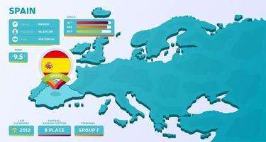 isometrische Karte von Europa mit hervorgehobenem Land Spanien vektor
